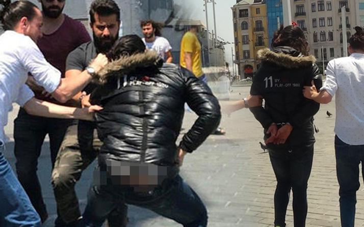 Üstünde montla Taksim'de para dağıttı!