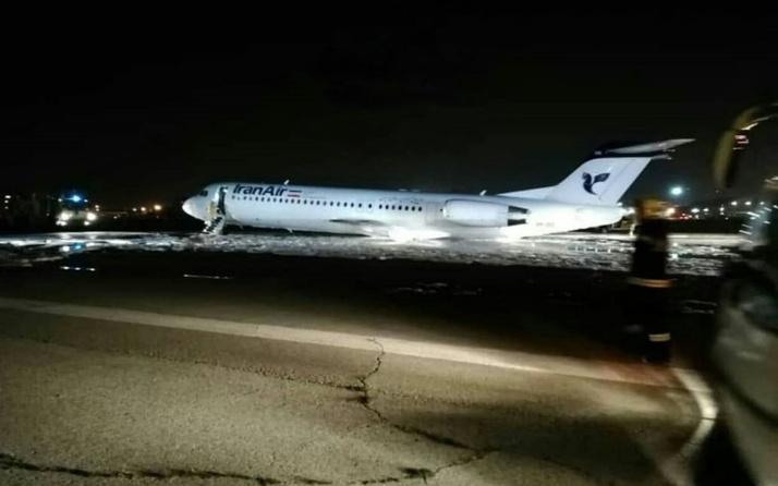 İran'da panik: Uçak iniş sırasında alev aldı!