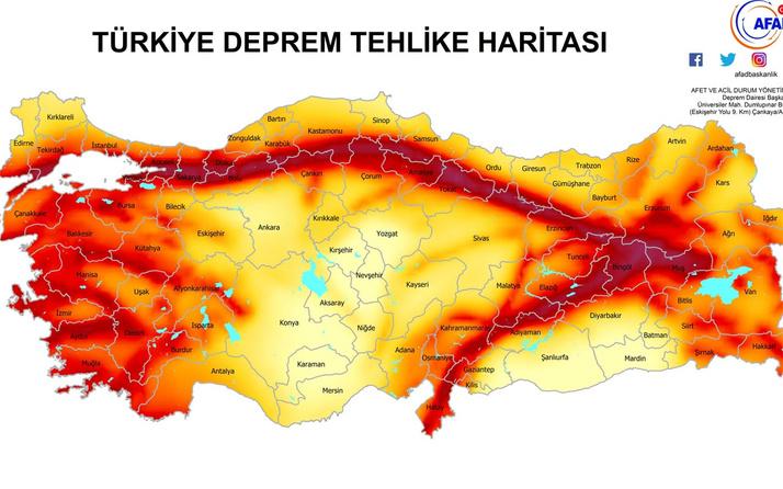 Türkiye fay hattı haritası deprem tehlikesi olan yerler Denizli'deki fay hatları