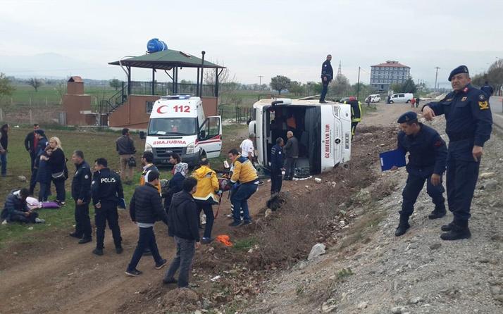 Denizli'de öğrencileri taşıyan tur otobüsü devrildi: 34 yaralı