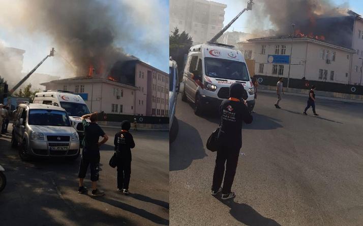 Esenyurt'ta okulun çatısı alev alev yandı