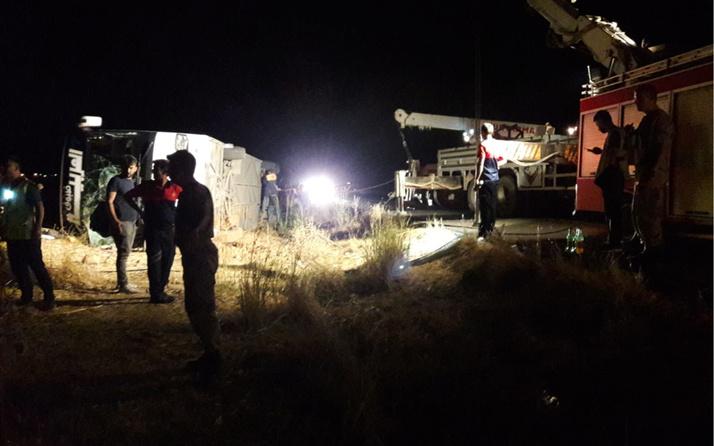 Mardin'de dehşet kaza! Otobüs devrildi 10 yaralı
