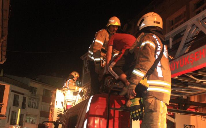 Yangın çıkan binada mahsur kalan 7 kişiyi itfaiye ekipleri kurtardı