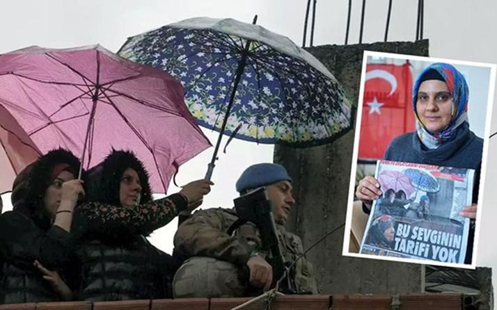 'Asker ıslanmasın' diye şemsiye tutan kadın konuştu