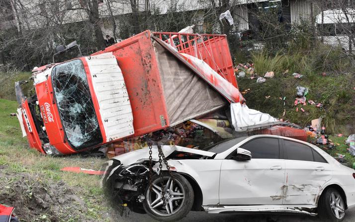 Gaziosmanpaşa'da hızını alamayıp çarptığı kamyoneti şarampole yuvarladı