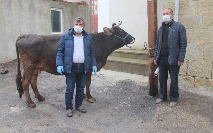 Bayburt'taki çiftçi Milli Dayanışma Kampanyası'na ineğini bağışladı