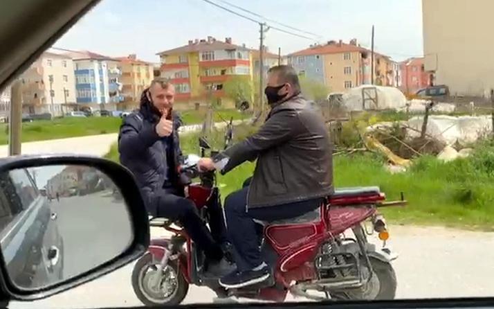 Tekirdağ'da motosiklet üzerinde sosyal mesafeye çözüm