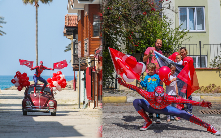 Antalya'da örümcek adam sokaklara çıktı 23 Nisan'ı kutladı