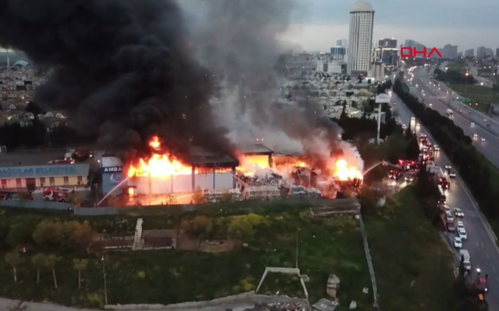 İstanbul İSTOÇ'ta korkutan yangın