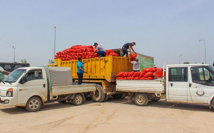 Bursa'da hayırsever çiftçi vatandaşa 100 ton soğan dağıttı