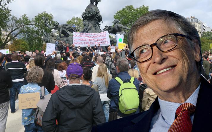 Fransa'da 'maske' protestosunda hedef Bill Gates! Gelecekteki köleleri yapmak içindir