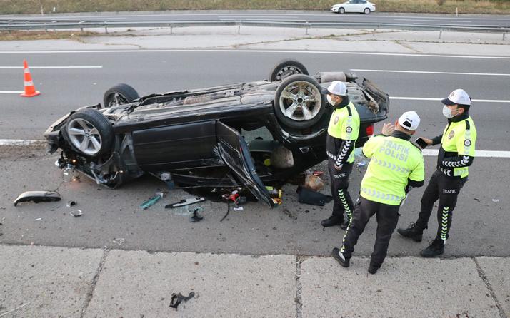 Bolu'da feci kaza! Lastiği patlayınca dehşet saçtı