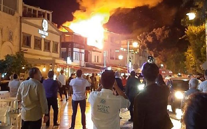 Bodrum'da korkutan yangın! Meraklı kalabalık cep telefonlarına sarıldı