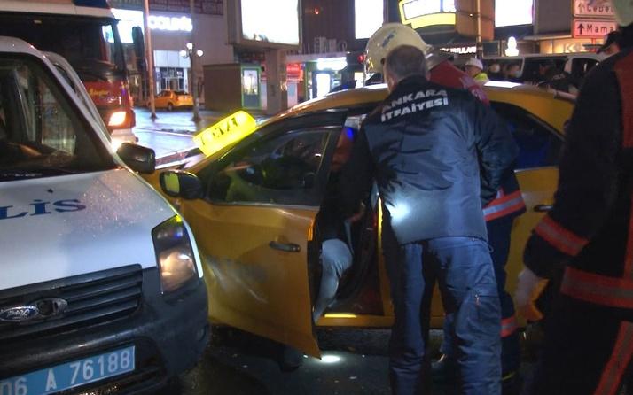 Ankara'da kırmızı ışıkta geçen alkollü sürücü taksiye çarptı: 2'si polis 5 yaralı