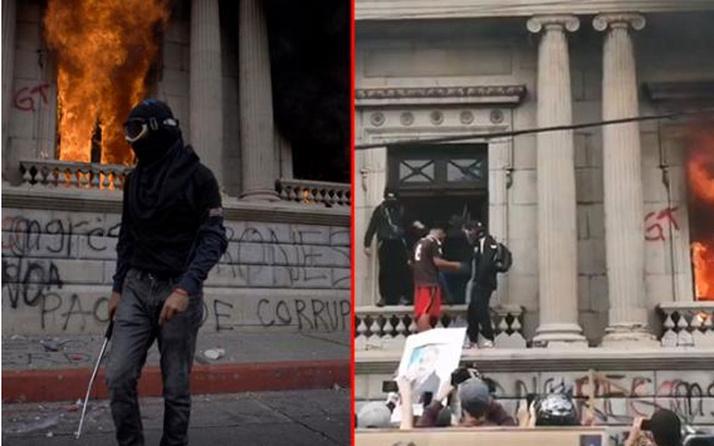 Guatemala'da tansiyon yüksek! Hükümet binası ateşe verildi