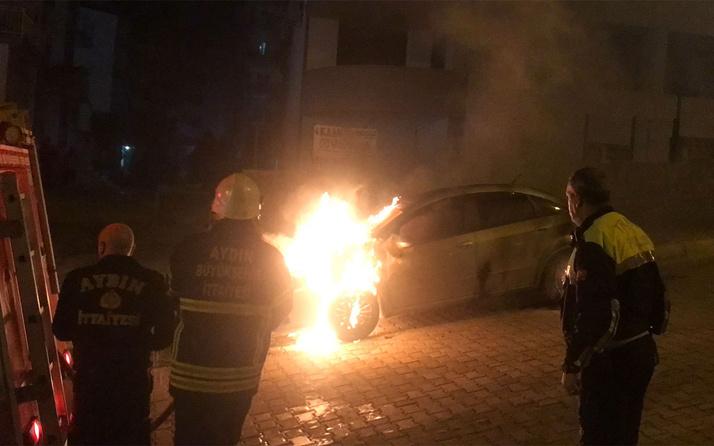 Aydın'da eşine kızdı kayınpederinin arabasını yaktı