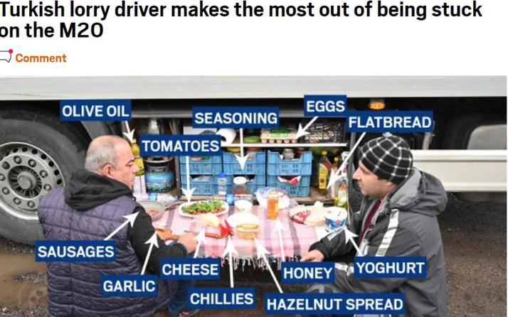 İngiltere'de mutasyon kuyruğunda bekleyen Türk şoförlerin kahvaltısı gündem oldu