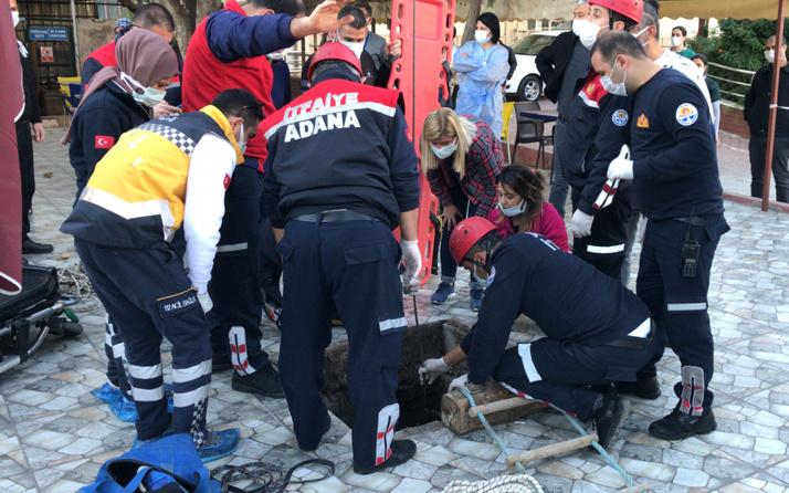 Adana'da kanalizasyon çukuruna düşen hamile kadın yaralandı