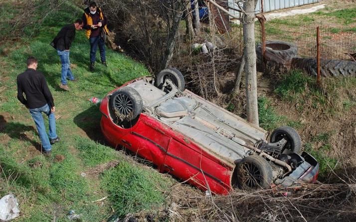 Tekirdağ'da feci kaza! 3 metre yüksekten uçtu takla attı mahalleli isyan etti