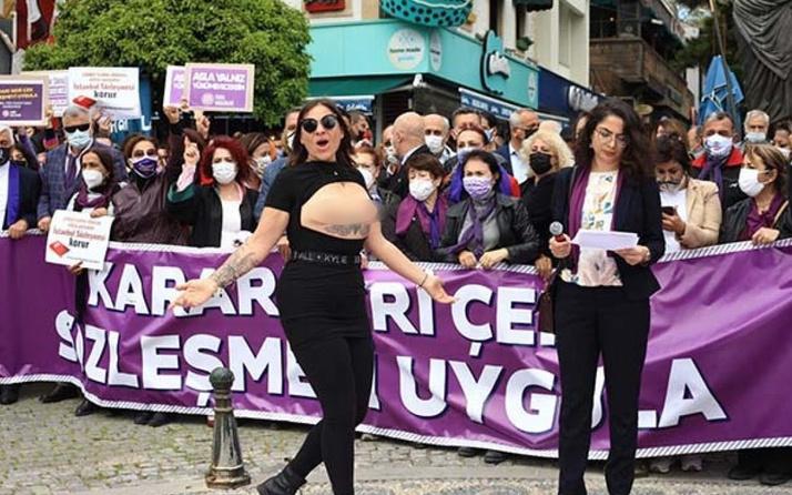 Antalya'da üstsüz İstanbul Sözleşmesi eylemi gerçekleştirildi