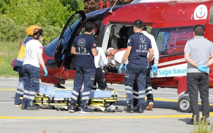 Kayseri'de Afgan çobana ambulans helikopterle sevk