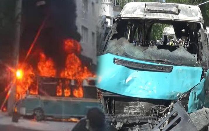 İzmir'de iki minibüs yolcular içindeyken çarpıştı alev alev yandı