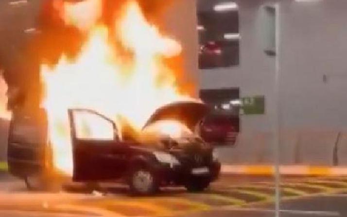İstanbul Havalimanı'nda korku dolu anlar! Turist karşılamaya gelen araç alev alev yandı