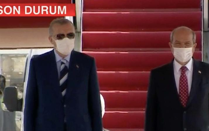 Cumhurbaşkanı Erdoğan KKTC'de törenle karşılandı