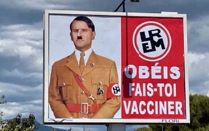Macron'u aşı politikası yüzünden Hitler'e benzettiler! Dava açtı