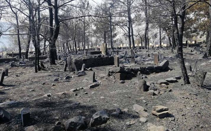 Mersin'deki yangında mezarlık yandı şehidin kabri ve Türk bayrağı sapasağlam kaldı