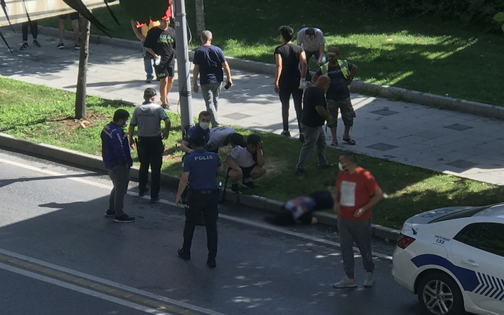 Şişli'de üst geçitten düşen kadın ağır yaralandı
