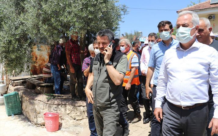 Tarım ve Orman Bakanı Bekir Pakdemirli Isparta'daki orman yangını bölgesinde incelemelerde bulundu