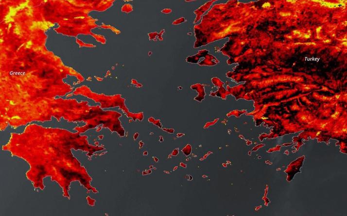 Akdeniz'deki sıcak hava dalgası Avrupa Birliğinin uydusuna yansıdı