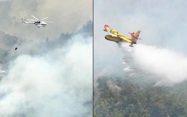 Muğla'da uçakların biri gidip, biri geliyor! Yangınla mücadele sürüyor