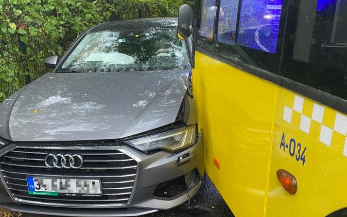 İstanbul Sarıyer'de virajı alamayan İETT otobüsü iki otomobile çarptı