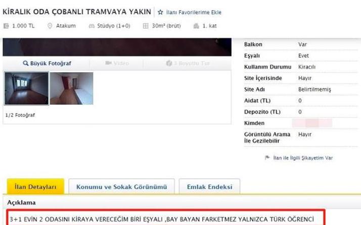 Samsun'da sadece 1 odanın bin 250 TL'ye kiralanmasına tepki geldi