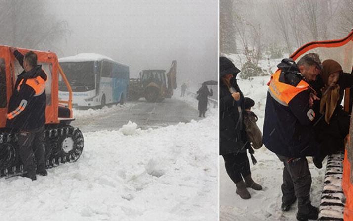 İstanbul'un yanı başında karda mahsur kaldılar!