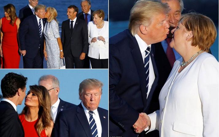 Macron'un eşinin Trump'ı öpmesi G-7 zirvesine damga vuran kareler