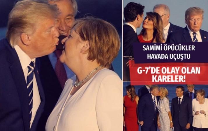 Melanie'nin Trudeau'a bakışı.. Macron'un eşinin Trump'ı öpmesi G-7 zirvesine damga vuran kareler