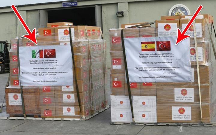İspanya ve İtalya'ya gönderilen korona yardımı sandıklarında dikkat çeken Mevlana notu