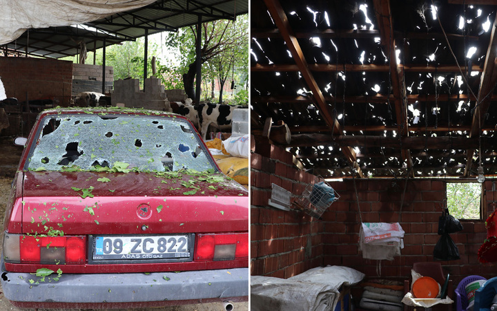 Denizli'de yumurtadan büyük dolu yağdı arabalar ve çatılar kevgire döndü