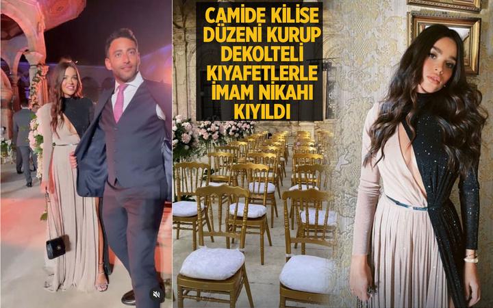 Fenomen Ezgi Fındık dekolteli kıyafetlerle camide imam nikahına katıldı! Kilise gibi...