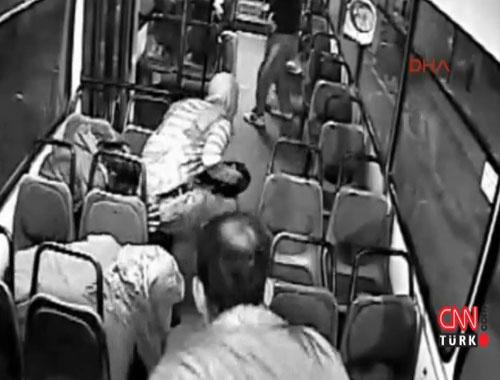 PKK'nın molotof attığı otobüste dehşet anları