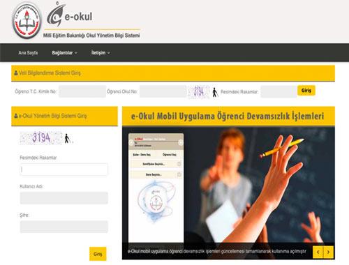 e okul veli bilgilendirme sistemi giriş sayfası MEB 2015