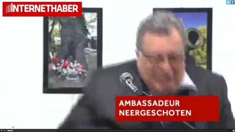 Rusya büyükelçisi vurulma anı görüntüleri suikast videosu