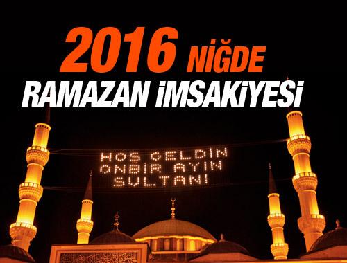 Niğde iftar vakti 8 Haziran 2016 imsakiye