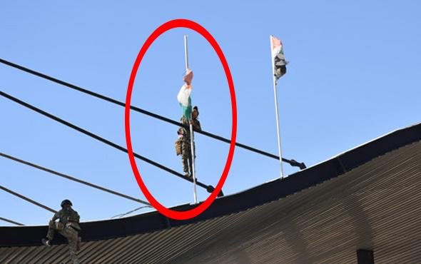 Tarihi an! Kerkük'te Kürt bayrağı böyle indi