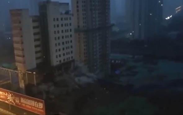 65 metrelik bina 5 saniyede böyle yıkıldı!