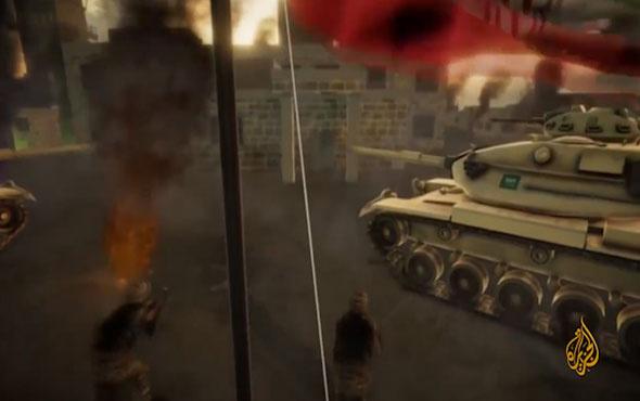 Suudi Arabistan'ın İran'ı vurduğunu gösteren animasyon