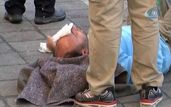 Nakliye sepetinden düşerek yaralanan işçi yerde sigara içti